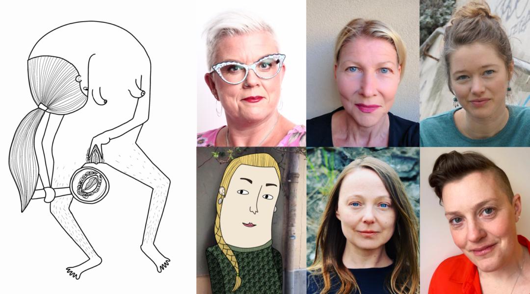Fr v: Illustration avKinna Andersson, Suzanne Larsdotter, Renita Sörensdotter, Sara Persson (fotograferad av Manon Grathe),Xenia Klein (illustrerad av Kinna Andersson),Desireé Ljungcrantzoch Åsa Åbom.