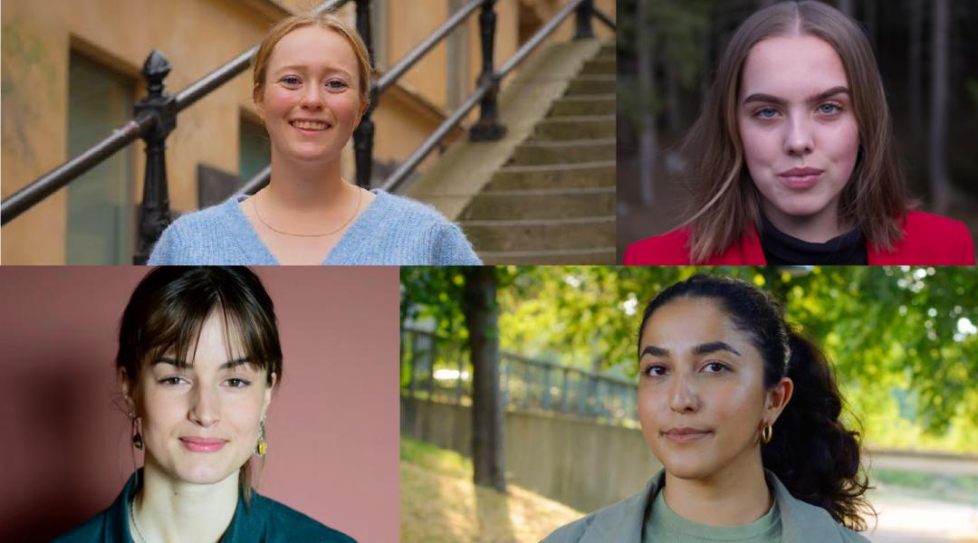 Överst fr v: Nadja Winberg, Linn Borseman,Rebecka Forsberg och Aida Badeli.
